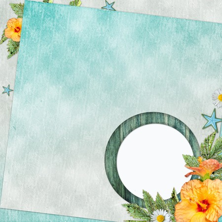 Summer  beach background  with circle frame photo