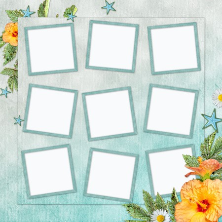 Summer  beach background with  frame and flowers  photo