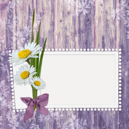 Framework for photo or congratulation with bunch of flowers. photo