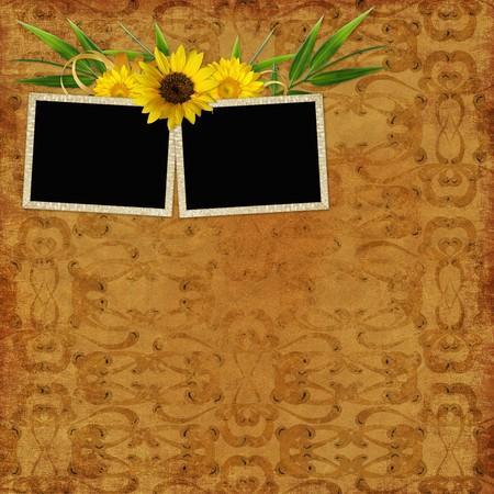 retro background with decorative frames photo