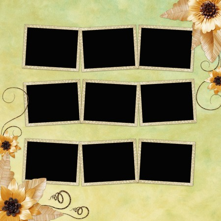 background with frame and flowers Stock Photo - 7572970