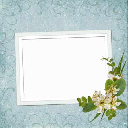 Framework for photo or invitation  with bunch of flowers. photo
