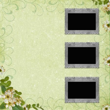 3 Old paper frame on grunge background photo