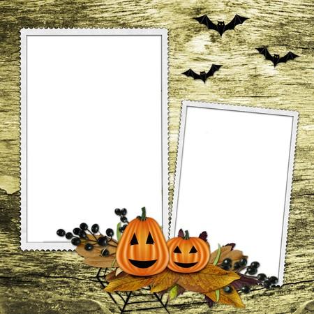 Halloween frame on  textured background photo