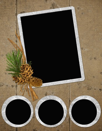 pinecone: background with frames and pinecone Stock Photo