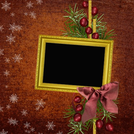 christmas photo frame: Framework for photo or congratulation  Stock Photo