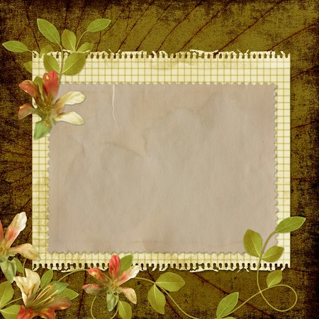 Grunge paper design for information in scrap-booking style  photo