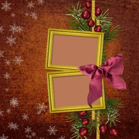 christmas photo frame: Framework for invitation or congratulation. Stock Photo