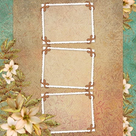photo corner: background with frame and flowers