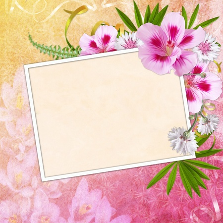 photo corner: Framework for invitation or congratulation. Stock Photo