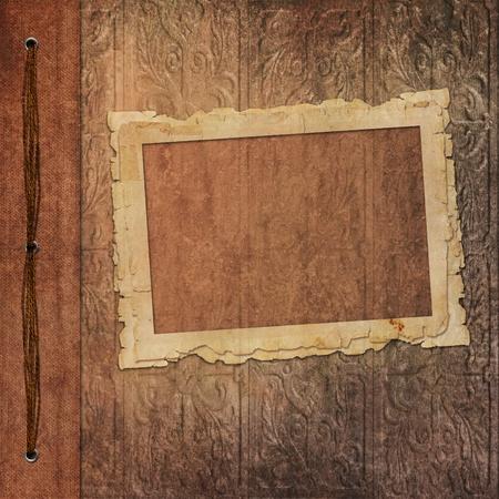 scrapbook cover: Marcos retro de viejo �lbum de fotos Foto de archivo