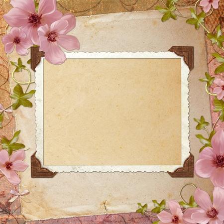 scrapbook cover: Framework for invitation or congratulation. Stock Photo