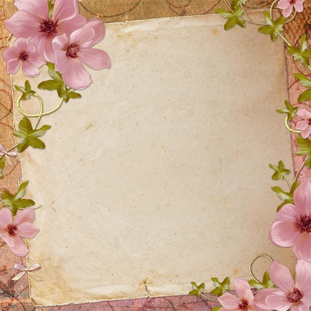 old diary: Grunge paper design for information in scrap-booking style