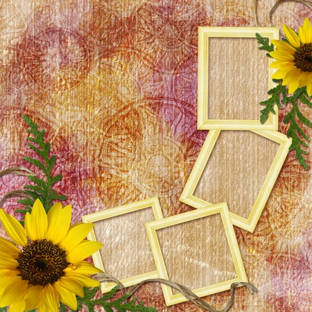 Autumn background with frames photo