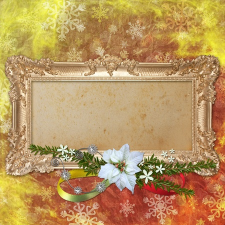 Abstract christmas background with decorative frame photo