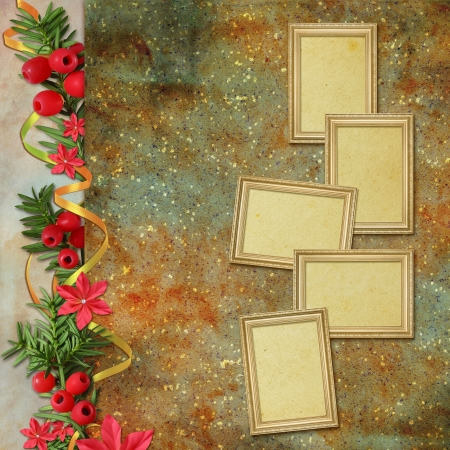 christmas photo frame: Congratulation card to Christmas and New year