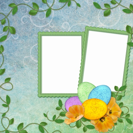 Easter greeting card with decorative egg photo
