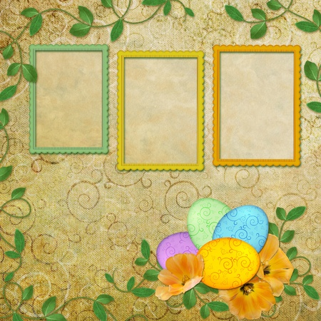 Spring background with frame and flowers  photo