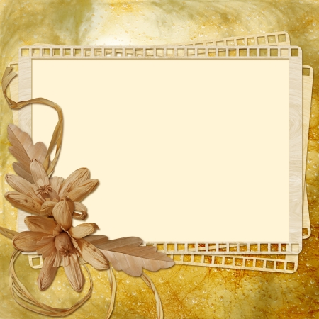old diary: Autumn background with frame and flowers