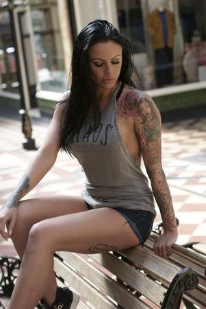 Beautiful woman tattoo outdoor
