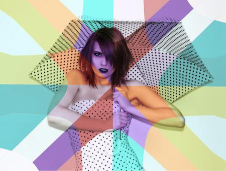 polka dot dress: Polka Dot Dress Projection Stock Photo