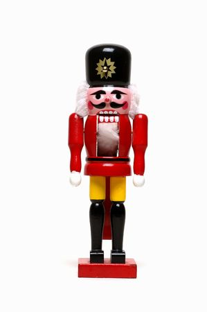 christmas military: Old style wooden nutcracker in the shape of a soldier Stock Photo