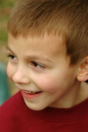 Close-up of a five-year-old boy smiling