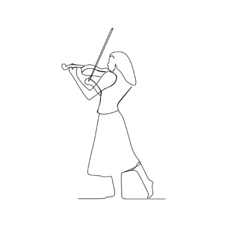 Woman playing violin continuous line one line art Vector Illustration