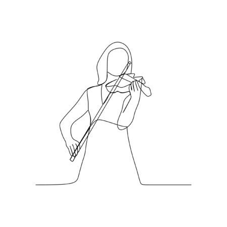 Woman playing violin continuous line one line art Reklamní fotografie - 149718872