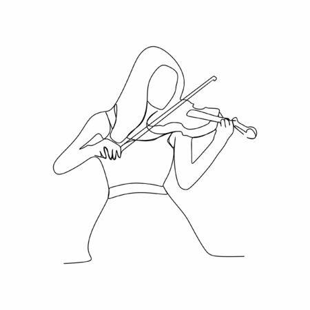 Woman playing violin continuous line one line art