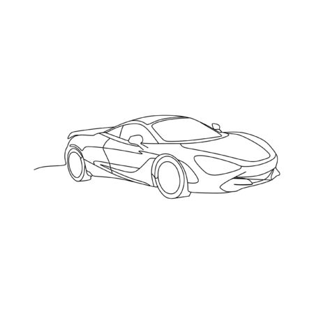 Sport supercar continuous line one line art
