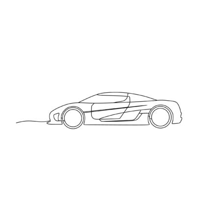 supercar sportcar continuous line one line art Illustration