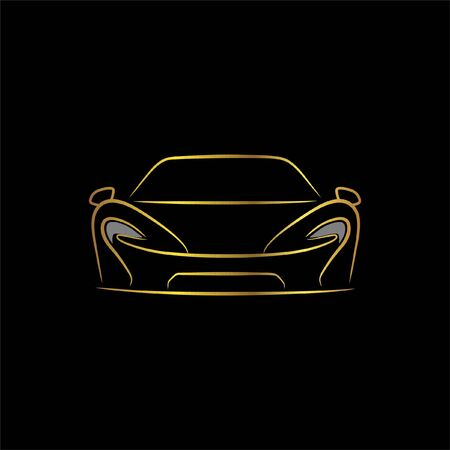 supercar sportcar front view line art