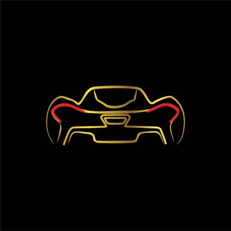 supercar sportcar back view line art Illustration