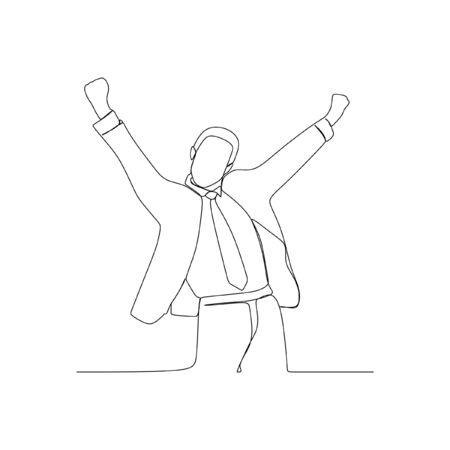 Happy suit man success continuous line one line art