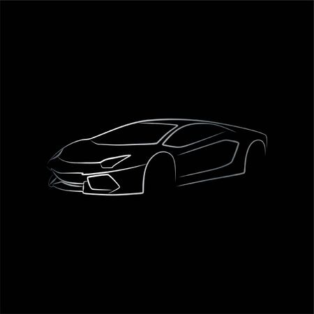 Sport Supercar oblique view line art