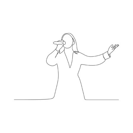 woman sing continuous line one line art