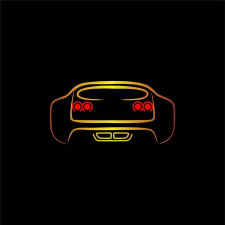 Sport Supercar back view line art