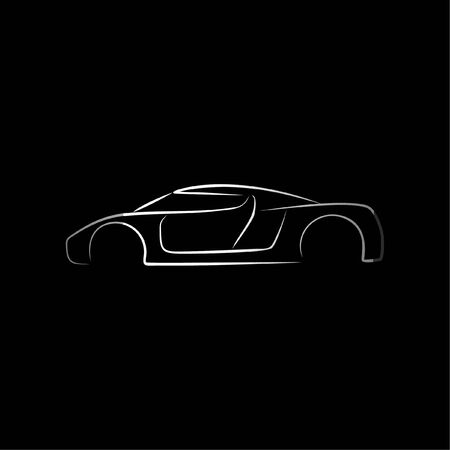 Sport Supercar side view line art