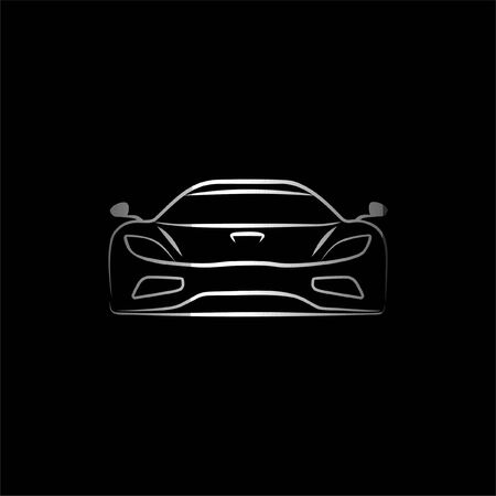 Sport Supercar front view line art Illustration