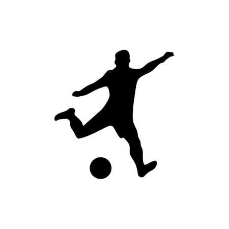 man kick ball soccer football silhouette Ilustrace