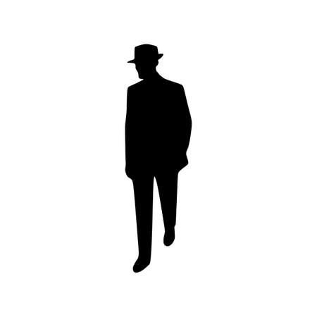 man hat silhouette vetor Ilustrace