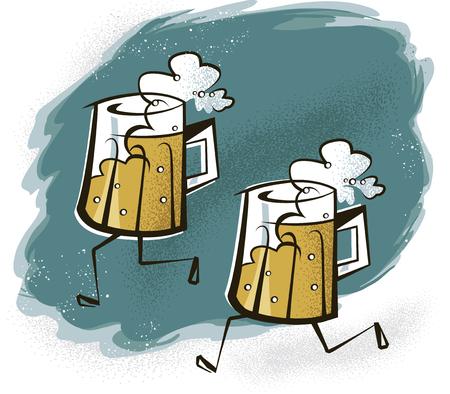 Vintage Illustration of Beer Mugs with Legs on a Beer Run Illustration