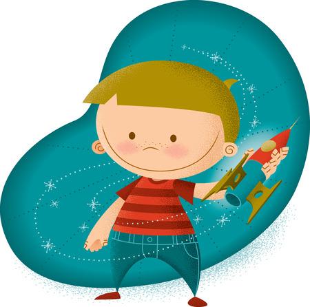 Retro Modern Illustration of Boy Playing with Rocket 矢量图像