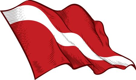 Taucher unten Flagge Feder & Tinte Illustration