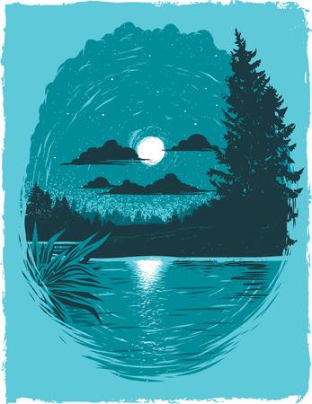 Moonlit Lake at Night Poster