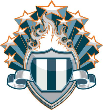Flaming Shield with Stars Design Illustration