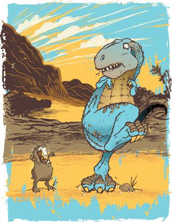 Frightened Tyrannosaurus Rex Cartoon 矢量图像