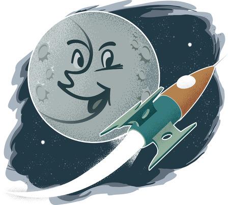 Retro Modern Man on the Moon with Rocketship