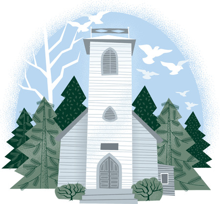 Vintage White Country Chapel